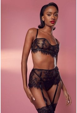 Black Eyelash Lace Longline Bralet Thong & Suspender Set