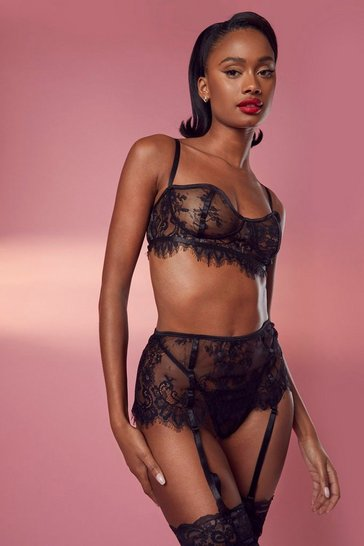 Black Valentines Lace Bralet Thong & Suspender Set