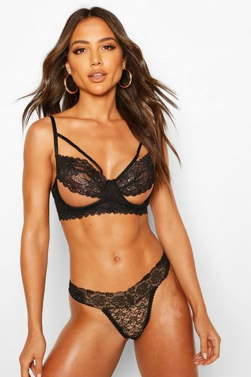Black Strapping Ouvert Underwire Bra