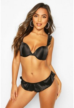 Black Satin Frill SideThong