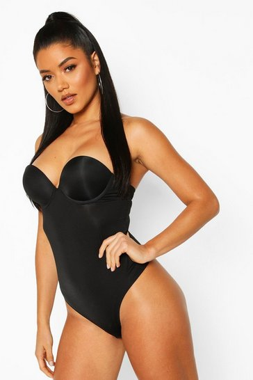 Black Smoothing Super Push Up Strapless Body