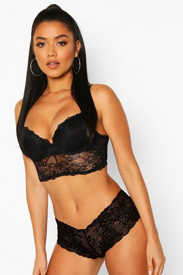 Black Mix & Match Lace Longline Bra