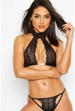 Halterneck Lace & Diamante Bralet, Black