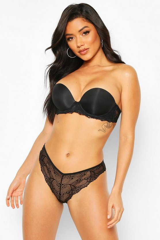 Black Lace Wing Strapless Super Push Up Bra