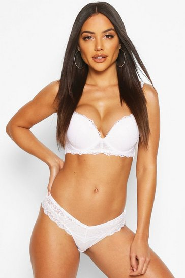 White Lace Super Push Up Strapless Bra
