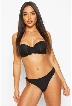 Lace Wing Strapless Bra, Black