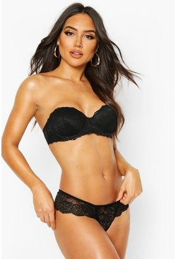 Lace Strapless Bra, Black