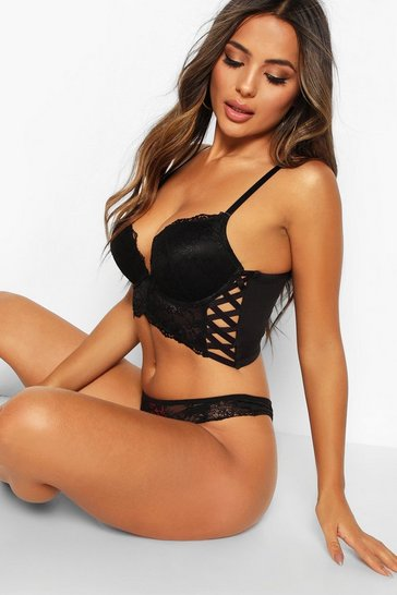 Black Lace Up Longline Super Push Up Bra