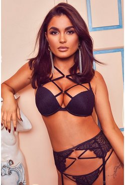 Black Valentines Eyelash Lace Super Push Up Bra