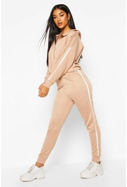Stone Side Stripe Zip Hoodie Jogger Lounge Set