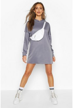 Side Stripe Lounge Hoodie Dress, Petrol