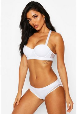 Womens White Fishnet Brief