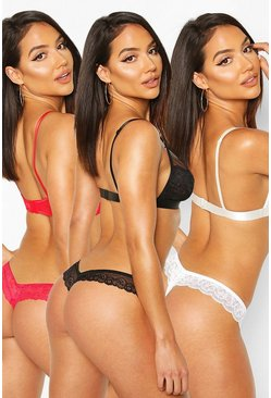 3 Pack Lace Bandeau Thongs, Black