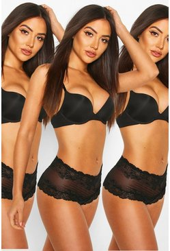 Womens Black 3 Pack Lace Shorties