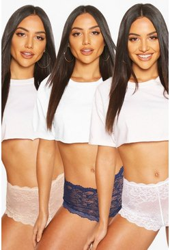 3 Pack Lace Shorties, Navy