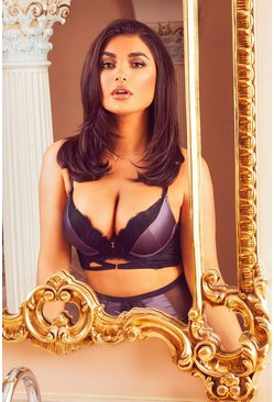 Valentines Premium Satin Super Push Up Bra, Slate