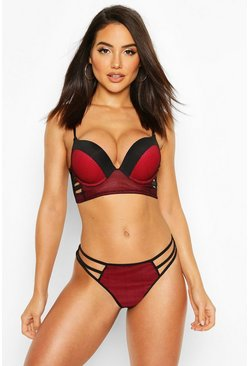 Fishnet Caged Longline Super Push Up Bra, Red