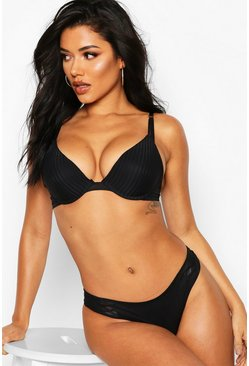 Womens Black Stripe Caged Push Up Plunge Bra