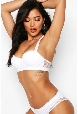 Womens White Racerback Fishnet Balconette Bra