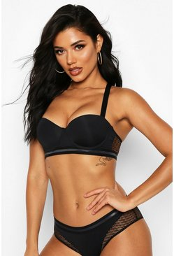 Womens Black Racerback Fishnet Balconette Bra