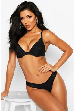 Stripe Caged Side Thong, Black