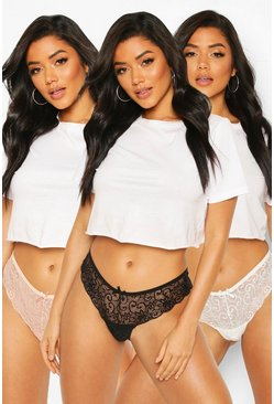 Black 3 Pack Lace Brazilians
