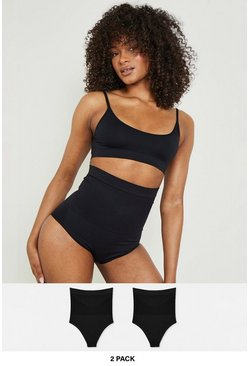 2er-Pack High-Waist Control-Slips, Schwarz