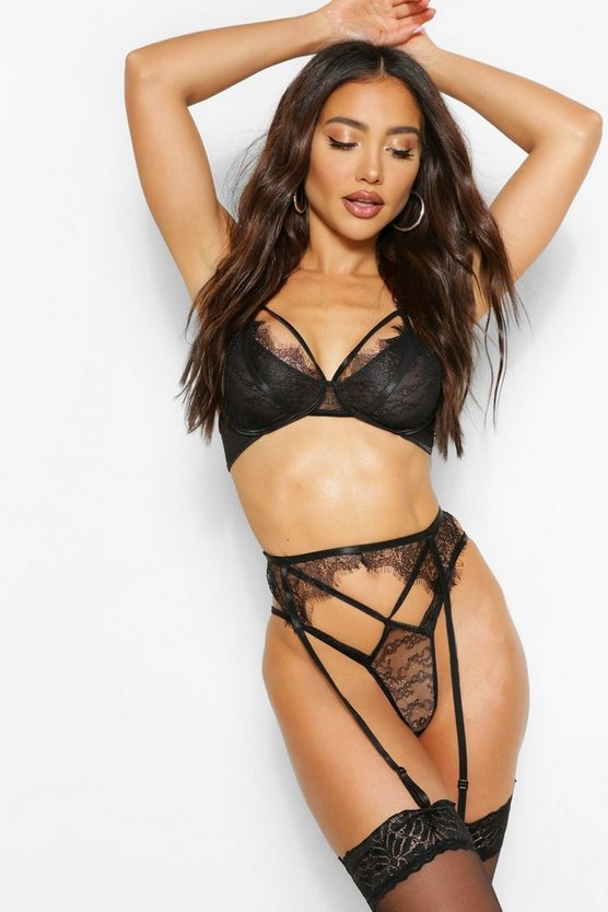 Lace Strapping Bralet Thong & Suspender Set