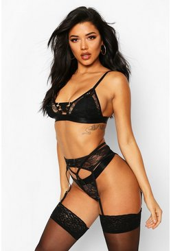 Womens Black Strapping Bralet Thong & Suspender Set