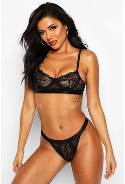 Black Spot Mesh & Lace Bralet & Thong Set
