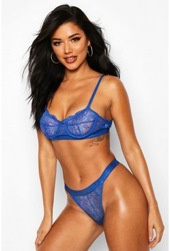 Womens Blue Spot Mesh & Lace Bralet & Thong Set