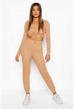 Womens Camel Long Sleeve Ruched Top And Trouser Lounge Set