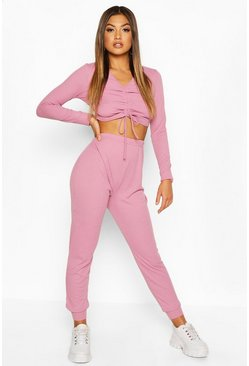 Lilac Long Sleeve Ruched Top And Trouser Lounge Set