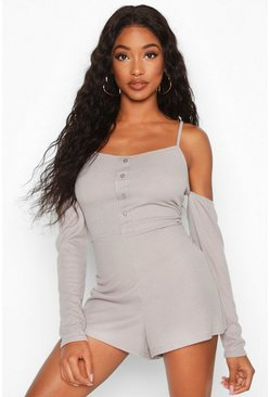 Button Through Long Sleeve Rib Romper, Grey marl
