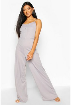 Grey Button Through Rib Onesie Jumpsuit