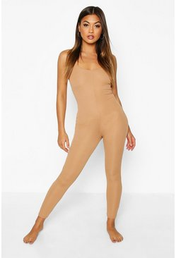 Camel Rib Strappy Lounge Jumpsuit