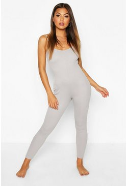 Womens Grey Rib Strappy Lounge Jumpsuit