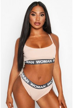 Womens Nude Woman Elasticated Bralet & Knicker Set