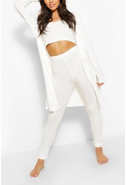 Cream 3 Piece Legging & Robe Lounge Set