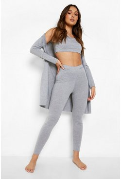 Dam Grey marl 3 Piece Legging & Robe Lounge Set