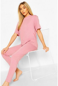 Blush Basic T-Shirt & Legging Jersey PJ Set