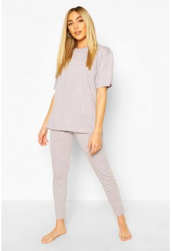 Grey marl Basic T-Shirt & Legging Jersey PJ Set
