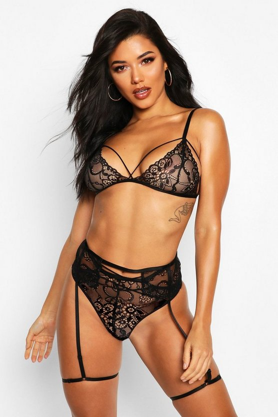 Black Strapping Lace Bralet Brazillian & Suspender Set
