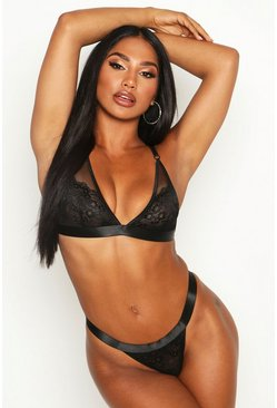 Womens Black Lace & Mesh Triangle Bralet & Thong Set