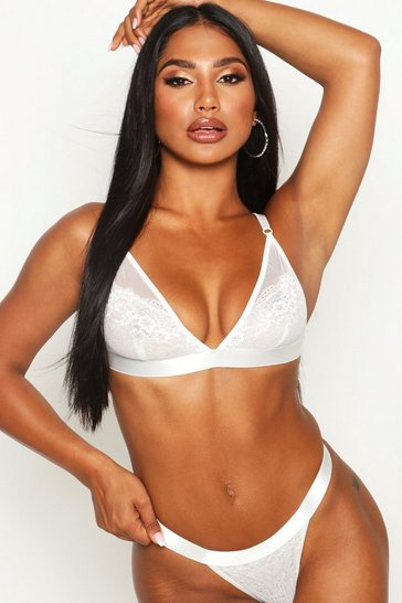 Womens White Lace & Mesh Triangle Bralet & Thong Set