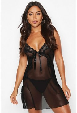 Black Satin Bow Front Lace & Mesh Babydoll