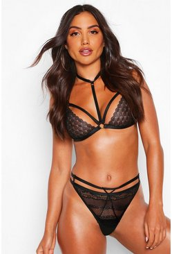 Womens Black Strapping Choker Bralet