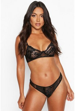 Womens Black Lace Bralet & Thong Set