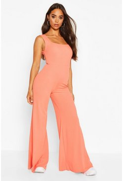 Womens Coral Rib Flare Lounge Jumpsuit