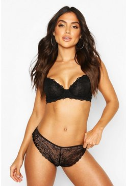 Womens Black Lace Underwire Bra